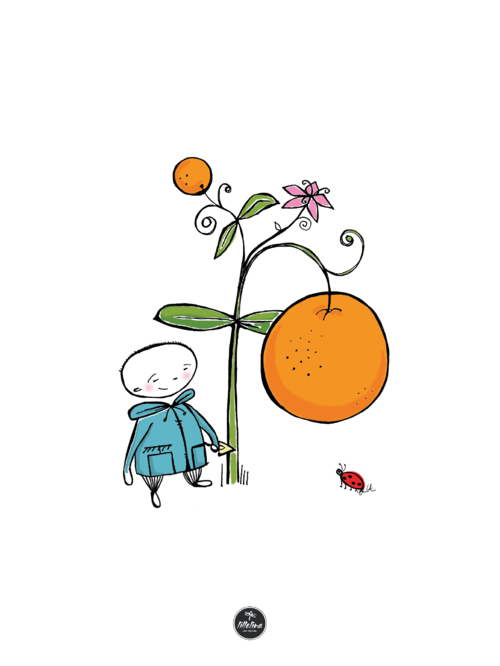 Poster - The little gardener and his orange