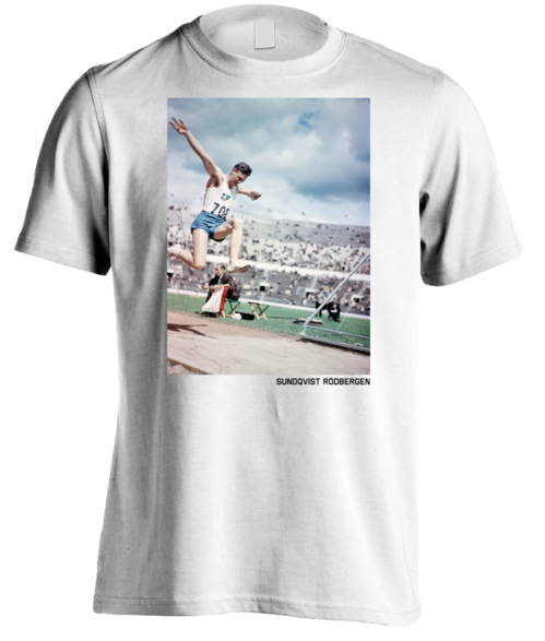 Olympic triple jumper, men's white t-shirt