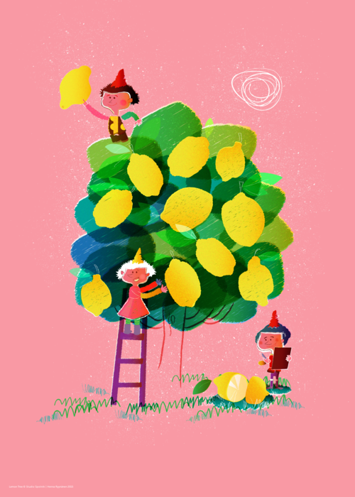 Lemon tree , pink version, 50x70cm