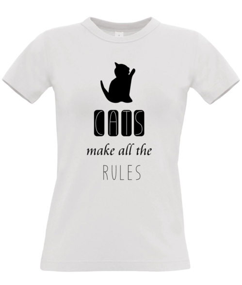 Cats make the rules - fun T-shirt design by SRC